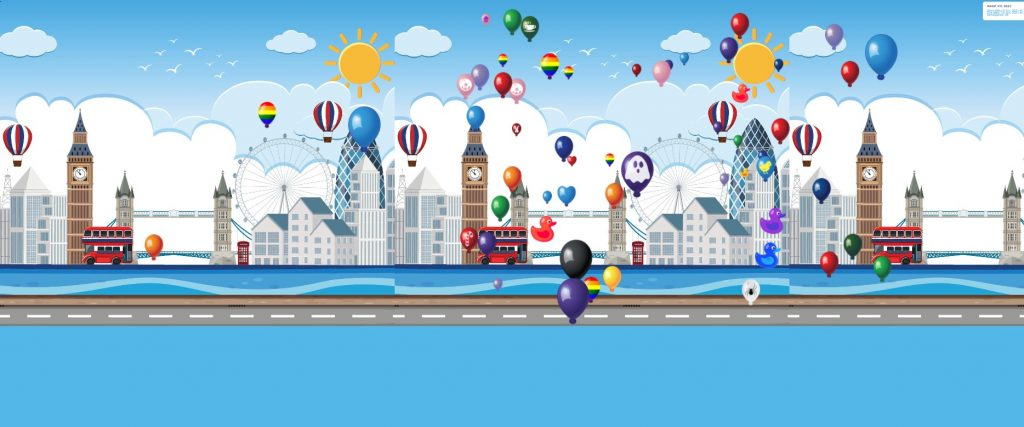 Image of lots of colourful hot air balloons travelling across London